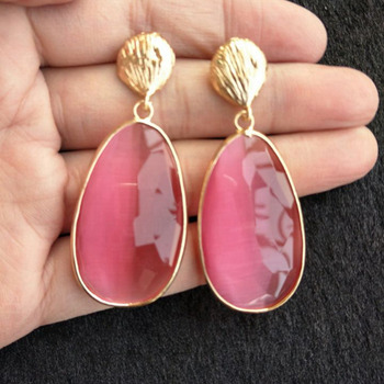 Розовый зеленый прозрачный капли воды Висячие серьги, бижутерия Femme для женщин Jewelry длинные серьги букле d'oreille подарок