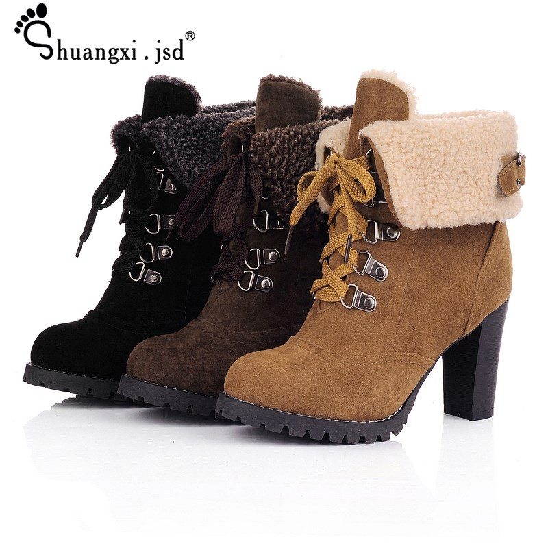 Shuangxi.jsd Winter Luxury Design Women Boots Non-slip High-heeled Matte Booties Plus Size High Quality Keep Warm Woman Shoes
