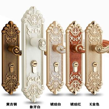 European simple wooden door look Antique locks zinc alloy indoor handle lock Bedroom door lock