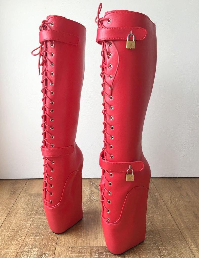 Fetish Boucle Haute Cm Verrouillable 18 Genou Femme Talon Bottes Compensées À Sans Sexy Lacets Longues Rouge Ballet Chaussures Extreme wxYqnOIf