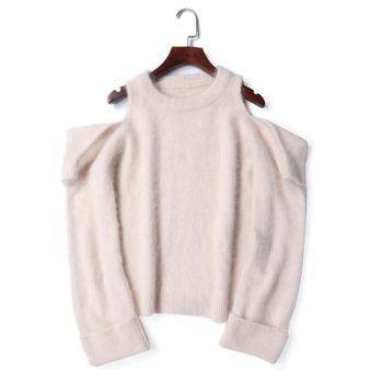 73eaa69a65e9 2018 Otoño Invierno mujeres angora conejo pulóvers suéter con cuello  redondo tejido mantener el calor suelto fuera del hombro