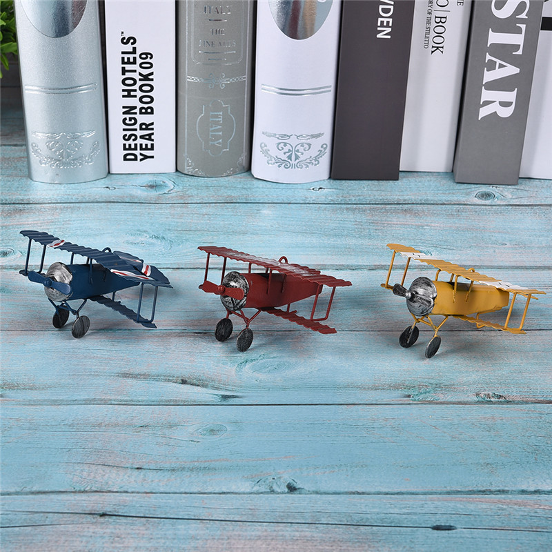 US $2 1 42% OFF|Vintage Iron Aircraft Model Photography Props Antique  Ornaments Airplane Figurines Status Metal Plane Bar Coffee Decorations-in