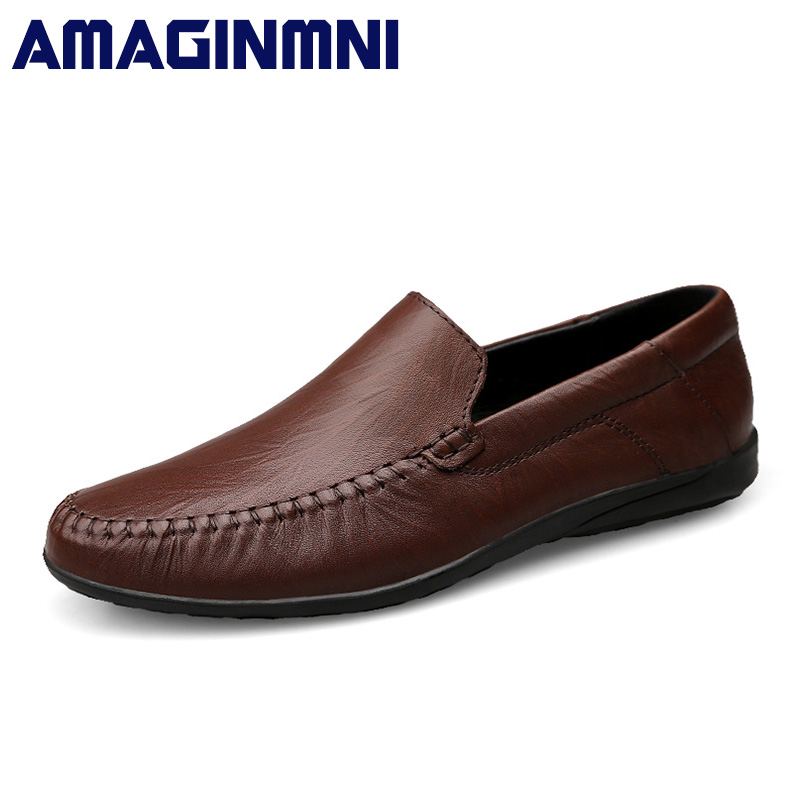AMAGINMNI big size 36-47 slip on casual men loafers spring and autumn mens moccasins shoes genuine leather men's flats shoes men s casual shoes loafers spring autumn slip on loafers men black mens shoes casual mens loafers rivet big size 46 47 48 socks