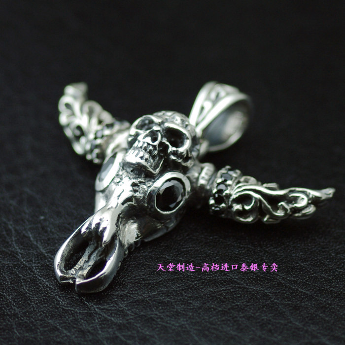 925 Sterling Silver skull head pendants, imported Silver Pendant925 Sterling Silver skull head pendants, imported Silver Pendant