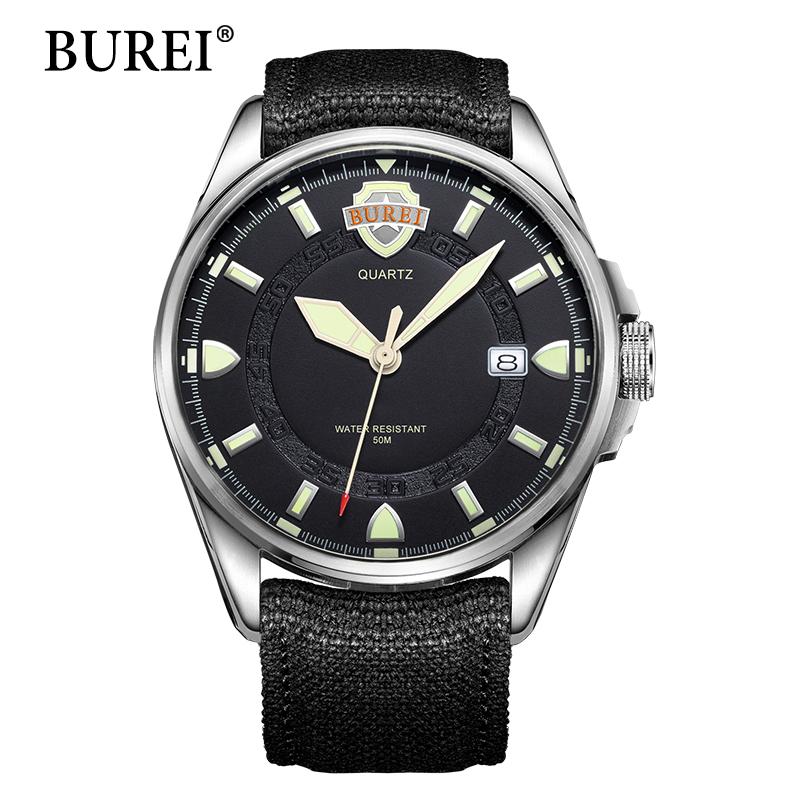 Prix pour BUREI lumineux montres hommes Top Marque De Mode Homme Horloge Militaire Numérique Saphir En Cuir Toile Imperméable Montre-Bracelet Vente Chaude