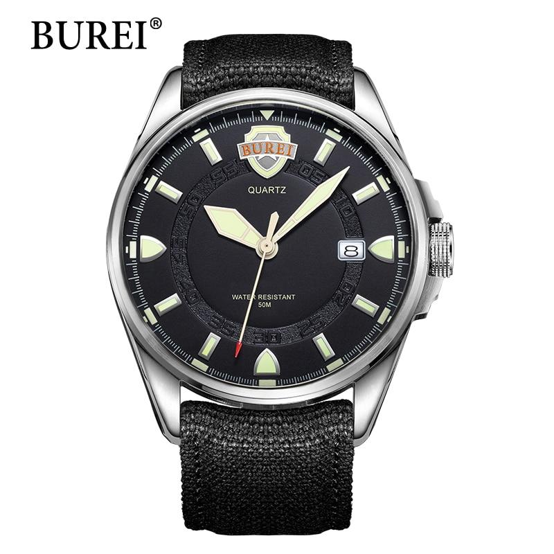BUREI luminous watches men Top Fashion Brand Male Clock Military Digital Sapphire Leather Canvas Waterproof Wristwatch