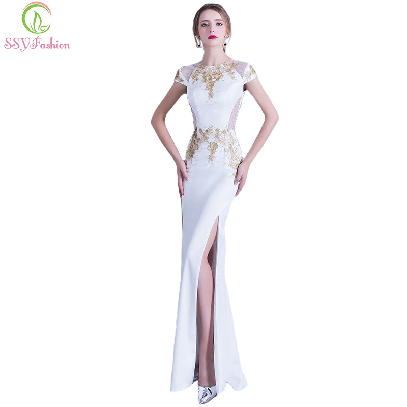SSYFashion New Banquet Elegant White Lace with Beading Mermaid Evening Dress  Sexy High-split Long Prom Party Gown Robe De Soiree 4eab0c4a4