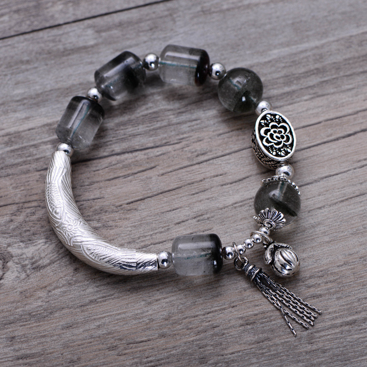 Fashion 925 Sterling Silver Vintage Ghost Stone Bracelet with Tassel Women Thai Silver Gift Jewelry CH058249 fashion 925 sterling silver vintage handmade sugilite bracelet women thai silver gift jewelry ch052535