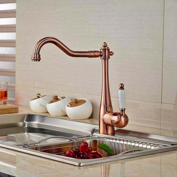 Kitchen Faucet Swivel Spout Vessel Sink Mixer Tap Ceramic Handle Deck Mounted Antique Brass led spout swivel spout kitchen faucet vessel sink mixer tap chrome finish solid brass free shipping hot sale