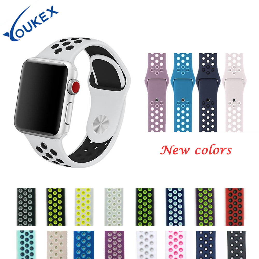 все цены на YOUKEX fluorescence silicone sport band  for apple watch 38mm 42mm fashion porous double color bracelet wrist strap for iwatch онлайн