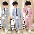 2016 Autumn Kids Long Sleeve Jacket Trouser Suit Party Clothing for Boys Fashion Boy Cotton Triangle Wedding Clothes 16J21