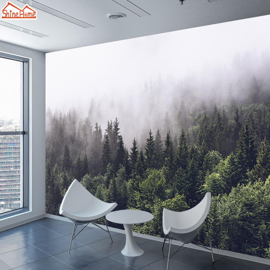 8d Crystal Silk Murals Wallpaper 3d Wall Paper Papers Home Decor Foggy Forest Wallpapers For Living Room Self Adhesive Mural