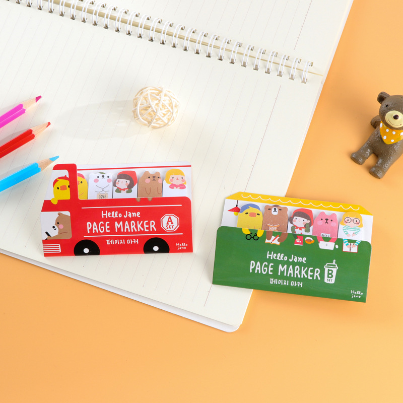 2pcs/lot Cute Happy bus stickers Sticky Notes Post Memo Pad School Supplies Bookmark Tab Flags Memo Book Marker Sticky Notes