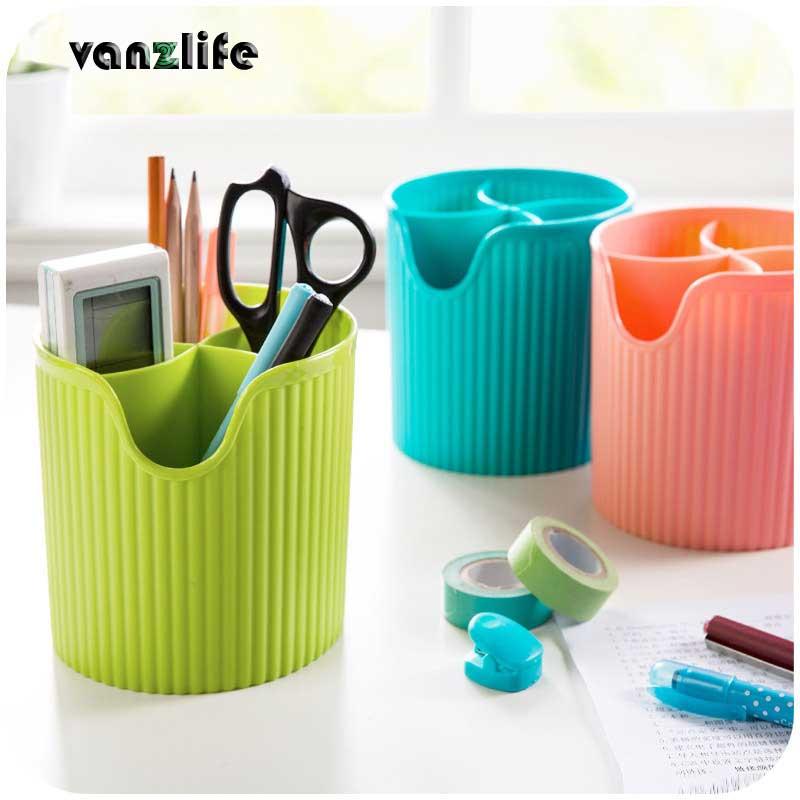 vanzlife colorful plastic fourfold chopsticks tube draining kitchen cutlery ruled tubular container spoon storage box
