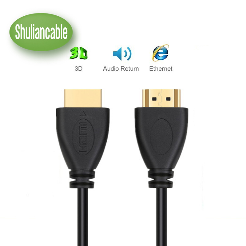 ShuliancableHigh Speed HDMI Cable Male to Male Gold HDMI 1.4V Version 1080P 3D for PS3 projector HD LCD Apple TV computer cable dhl fedex shipping gold plated vga cable male to male 3 6 hd 15pin for lcd crt projector pc laptop monitor 25m 30m 40m 50m