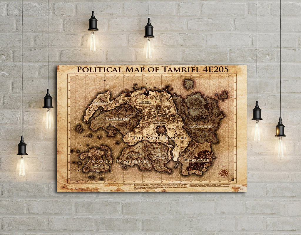 The Elder Scrolls Map Art Silk Poster Home Decor 12x18 24x36inch