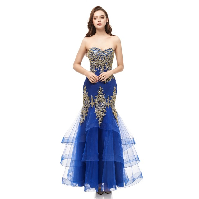 Long Prom Dresses 2019 New Gold Appliques Prom Gown Sweetheart Blue Formal Dress Women Occasion Party Dresses Robe De Soiree