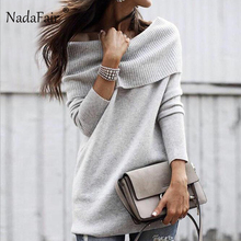 Nadafair Autumn Winter Long Sweater Women Off Shoulder Bodycon Pullover Sweaters Slash Neck Wrap Knitted Sweater Vestidos Female