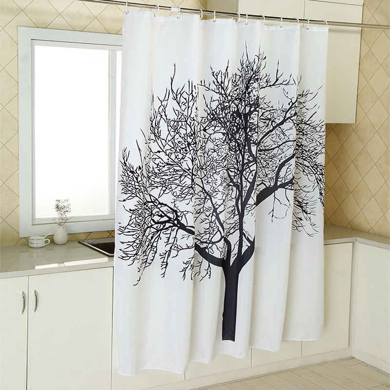 New Stylish Splash Waterproof Fabric Shower Curtains Black Tree Design Polyester Bath With Hooks Bathroom Product In From Home