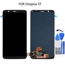 AMOLED A5010 LCD Oneplus için 5 T LCD 6.01 inç ekran ile dokunmatik ekran digitizer bileşeni yedek parçaları çerçeve + aracı