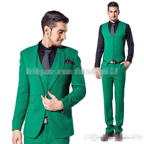 Custom Design One Button Green Groom Tuxedos Notch Lapel Groomsmen ...