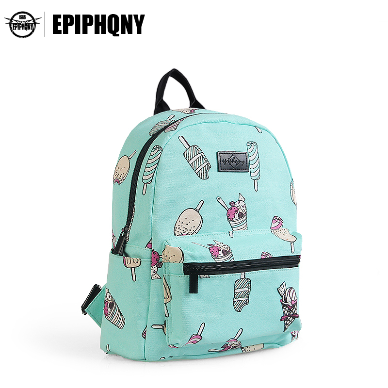 59339f9674 Epiphqny Brand Cute Backpack Women Ice Cream Food Printing Backpacks for  School Mint Green Fresh Bagpack Cartoon Candy Sweet-in Backpacks from  Luggage ...