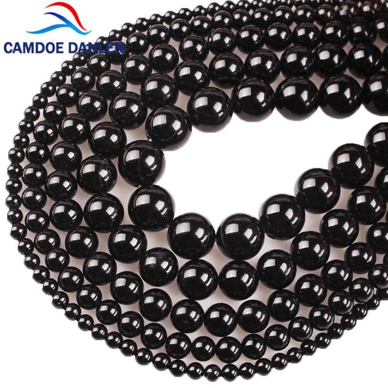 100% natürliche Stein Schwarz Achate Onyx Runde Perlen Und Glas Runde Perlen 4 6 8 10 12 14 MM DIY perlen Für Schmuck Machen Großhandel