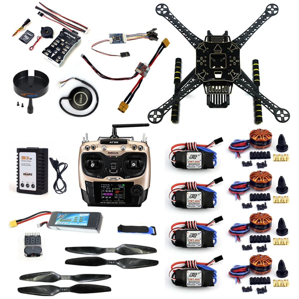 DIY Full Kit  RC Drone S600 Frame PIX 2.4.8 Flight Control AT9S TX 40A ESC 700KV Motor with Battery Charger XT60 Plug F19457-C