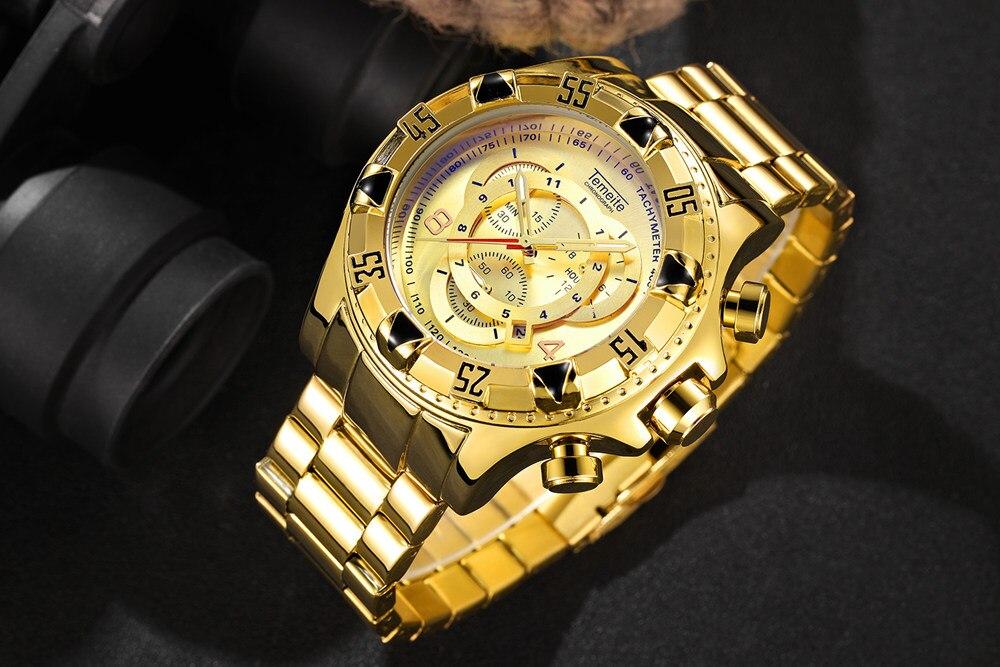 19 Top Brand Luxury Mens Oversize Watch Gold Business Steel Quartz Clock Waterproof Sport Military Chronograph Male Wristwatch 15