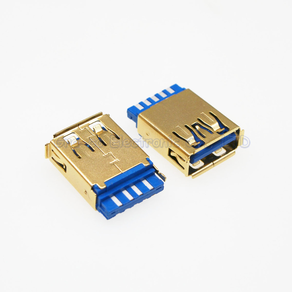 100pcs 24K gold plated USB A female socket 3 0A female Welded wire type crimping