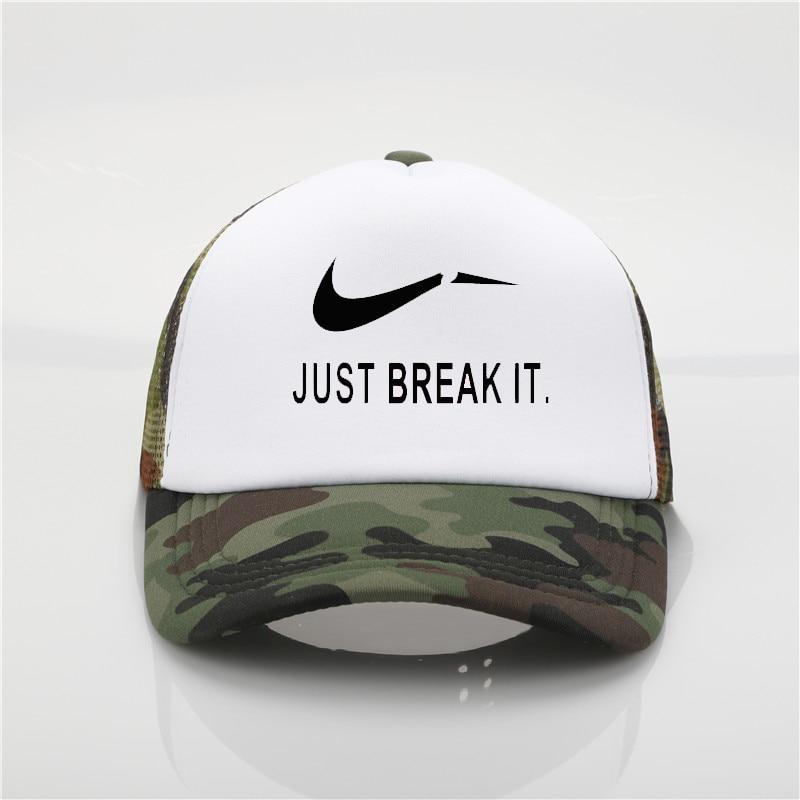 fashion hat Just Break It Printing net   cap     baseball     cap   Men and women Summer Trend   Cap   New Youth Joker sun hat Beach Visor hat