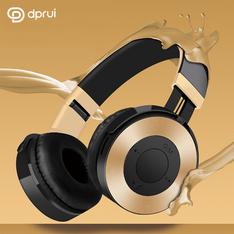 DPRUI Professional New Subwoofer Headset Bluetooth Headset Wireless support SD card Headphones for Mobile Phones and Music iskas headphones bluetooth subwoofer ear phones bass original music technology best new free tecnologia eletronica phone good