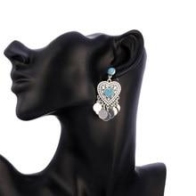 Statement Bohemia Earrings For Women Antique Silver Black Blue Stone Metal Sequin Tassel Drop Earring Heart Oval Vintage Jewelry