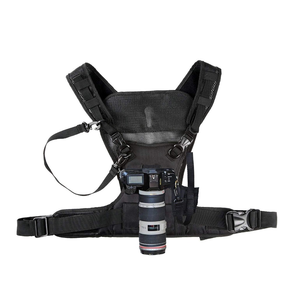 Nicama Cámara llevando arnés Chaleco con seguro correas para 1 cámara Canon Nikon Sony Panasonic DSLR cámaras