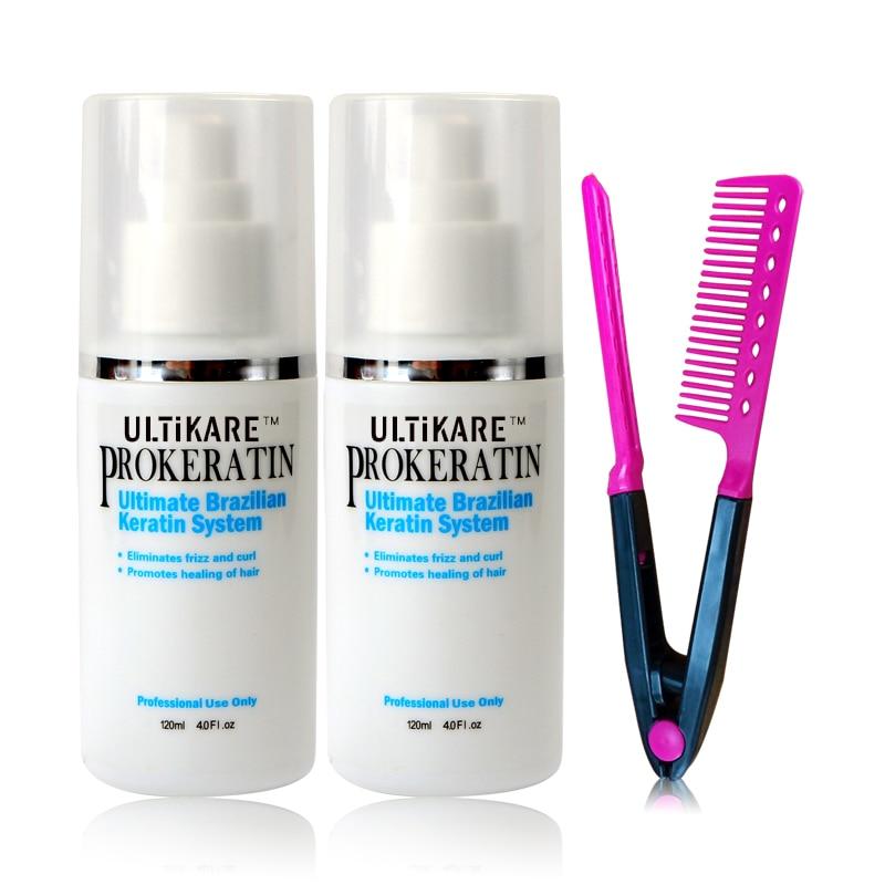 Gratis frakt 2 * 120ML brasiliansk keratinbehandling Rätta och reparera skadad hårprodukt + Gratis rött hårkam DIY hemma