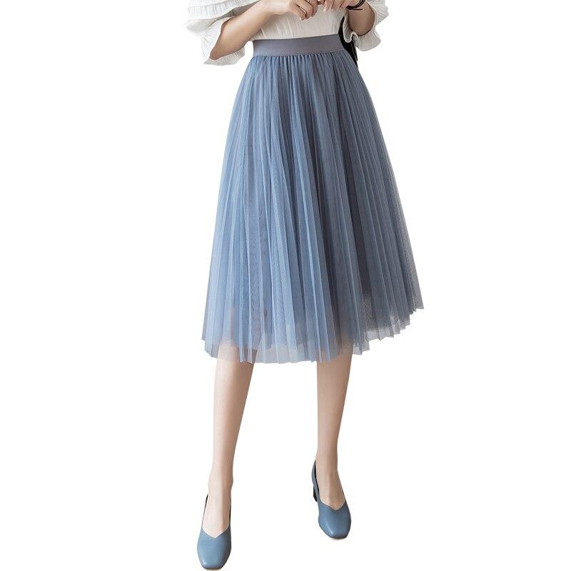 Women Skirts 2019 Summer New Fashion Black Beige White Pink Grey Mesh Midi Tulle Plain Pleated Skirt High Waist Woman Skirt