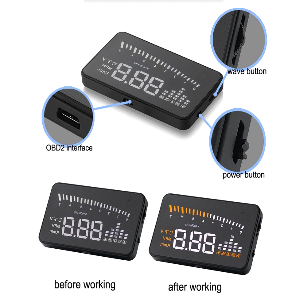 Image 4 - X5 Car Hud Head Up OBD 2 Display Digital Speedometer Overspeed Alarm Auto Windshield Projector OBD ii Car Electronics-in Head-up Display from Automobiles & Motorcycles