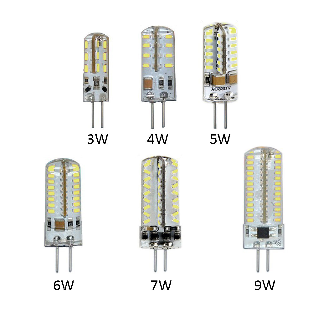LED Bulb Crystal Lamp AC 220V Silicone Body Light Chandelier G4 Base 3014 SMD 3W/4W/5W/6W/7W/9W 220V 1PCS DA