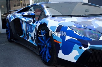 Jumbo Baby Blue Camouflage Vinyl Wrap Urban Night Camo Vinyl Car Wrap Bubble Free For SUV TRUCK Jeep Wraps 30M/Roll