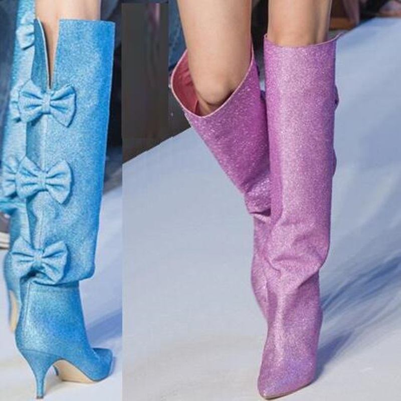 women knee high boots purple glitter boots pointed toe big bowtie women autumn boot european model red carpet banquet shoes in Knee High Boots from Shoes