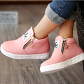 2016 fashion winter autumn kids sneakers Pu leather girls shoes boots zip ankle children shoes casual boys girls Martin boots