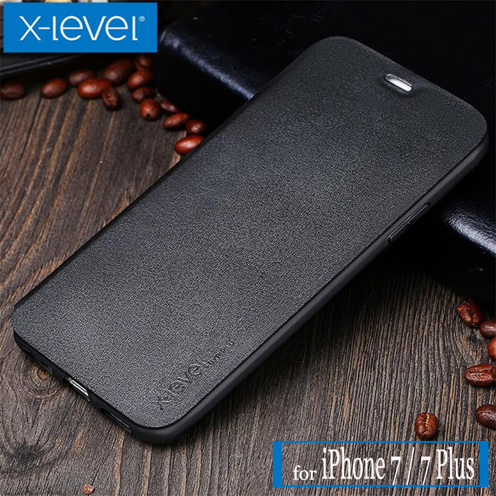 X Level for iPhone 7 Case X-Level FIB Card Slot Luxury Business PU Flip Leather Kickstand Protective Cover for iPhone 7 Plus