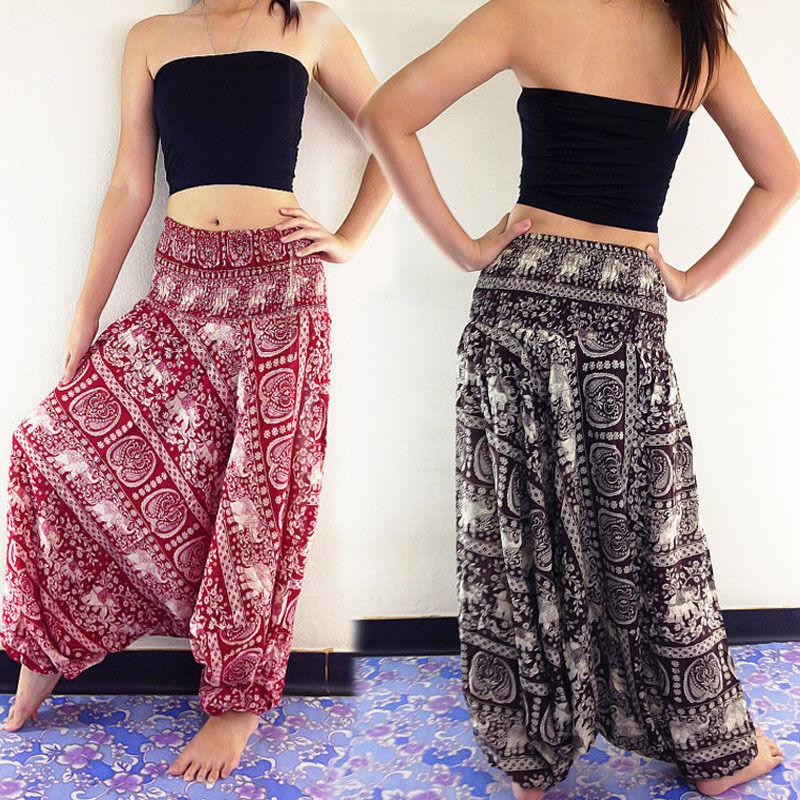 Women New Fashion Ladies Comfy Beach Baggy Boho   Wide     Leg     Pants   Hippie Women Harem   Pants   Trousers