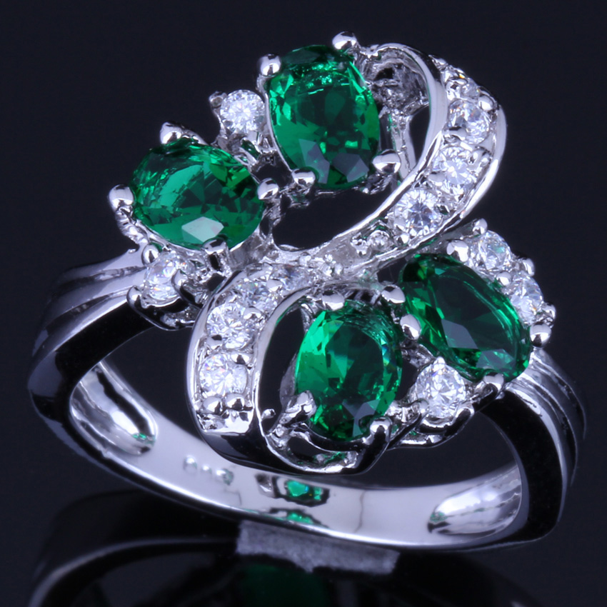 Enchanting Plant Green Cubic Zirconia White CZ 925 Sterling Silver Ring For Women V0146 in Rings from Jewelry Accessories