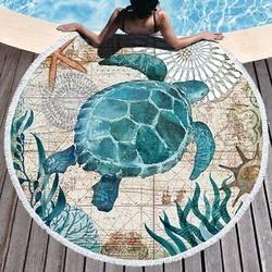Sea Turtle Round Beach Towel Undersea World Thick Shower Bath Towels Microfiber Summer Swim Circle Yoga Mat 150cm With Tassels