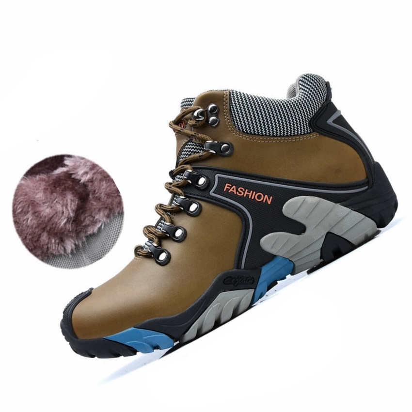 Genuine Leather Warm Winter Hiking Shoes Men High Top Plush Fur Outdoor Sport Camping Hiking Shoes Non Slip Hiking Sneakers Men 2016 men hiking outdoor winter camping shoes warm plush lining trekking hunting waterproof fish sneakers max size quality shoes