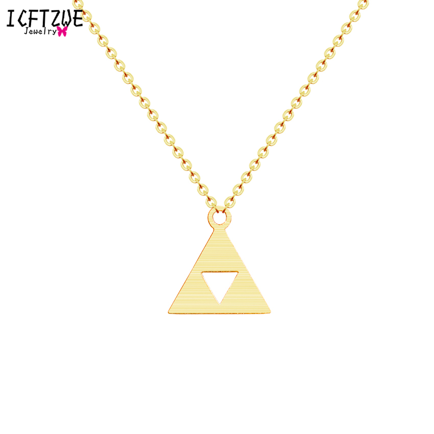 ICFTZWE Stainless Steel <font><b>Ketting</b></font> Gold Colour Collier Minimalist Statement Triangle Chain Pendant Necklace Women Kolye Bayan <font><b>BFF</b></font> image