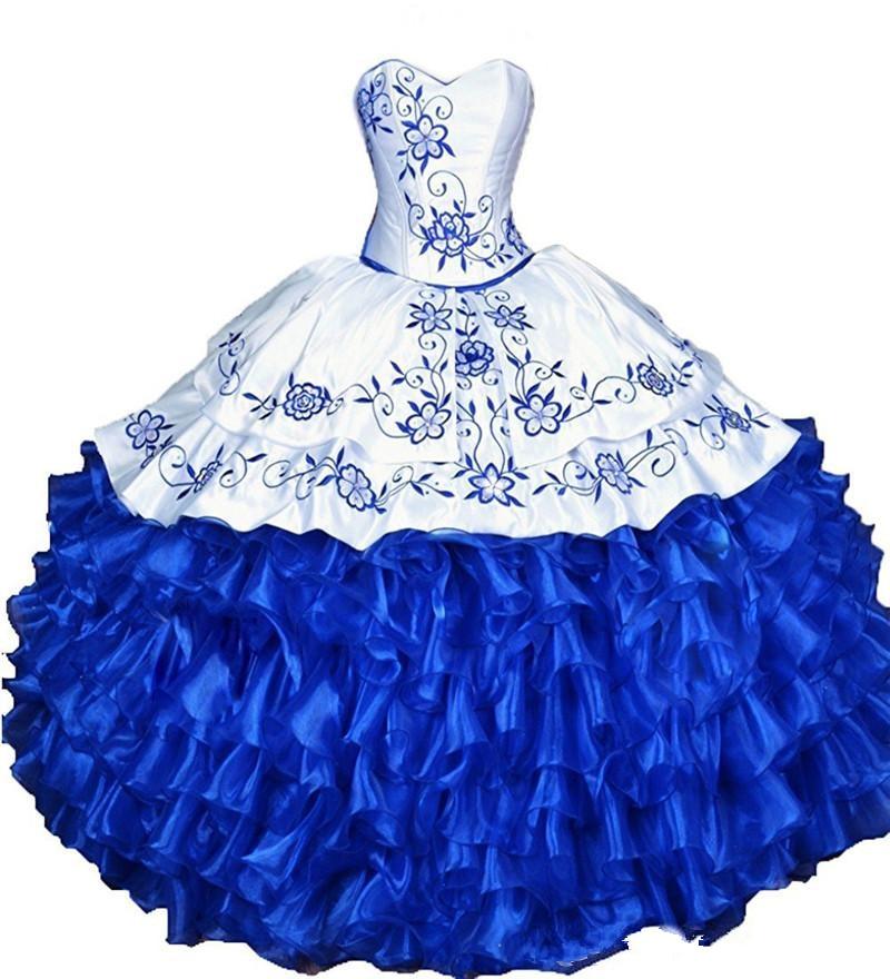 Bealegantom 2018 White Royal Blue Ball Gown Quinceanera Dresses Embroidery Sweet 16 Dress Vestidos De 15 Anos QA1538