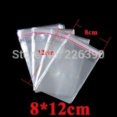 100 шт./лот 8*12 см (3.149*4.72 дюймов) ясно Белый прозрачный OPP Сумки упаковки ювелирных изделий с самоклеющиеся Печать Поли мешок y935
