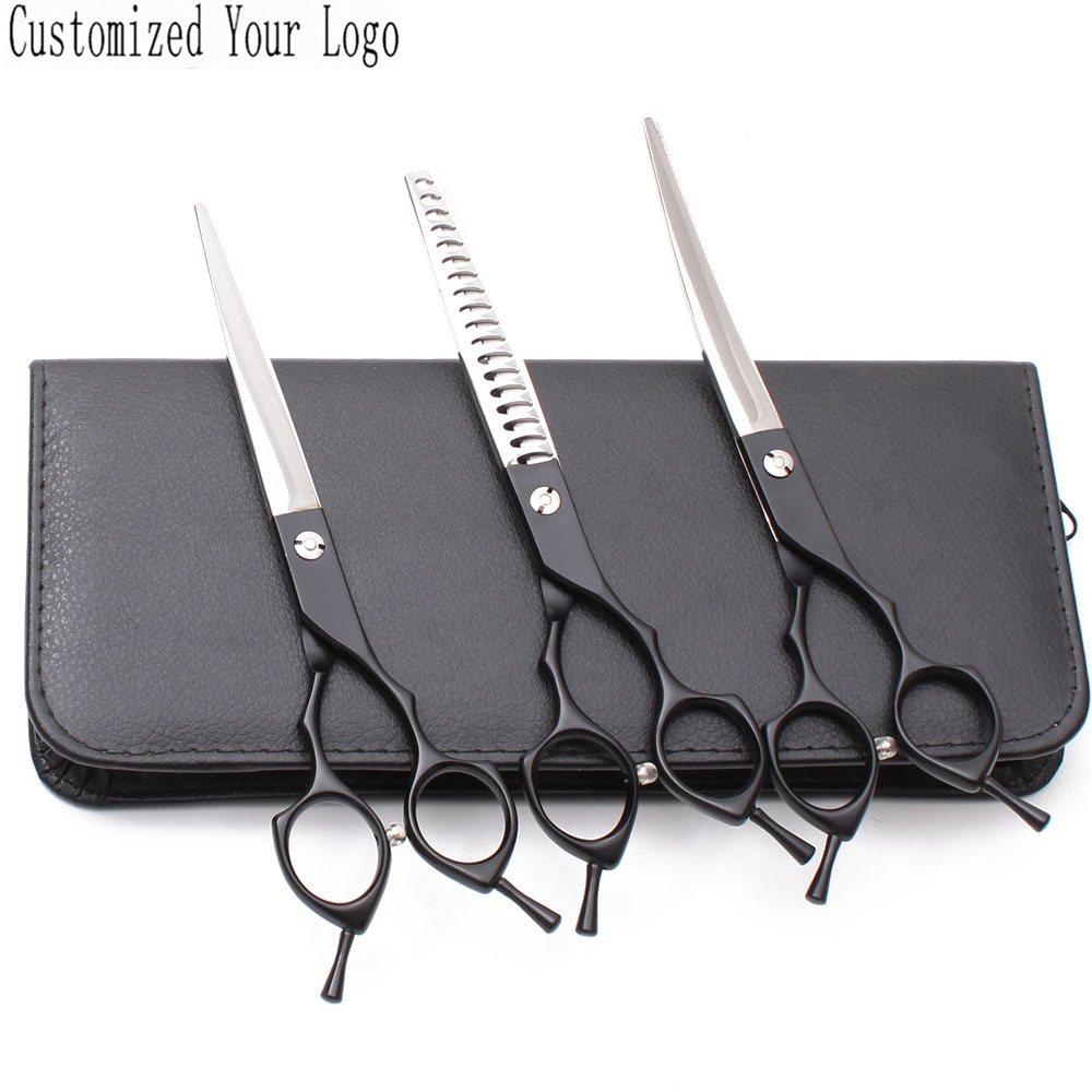 Suit 7 440C U3Pcs Customized Brand Dog Grooming Scissors Straight Shears Thinning Scissors UP Curved Shears Pet Scissors C3009Suit 7 440C U3Pcs Customized Brand Dog Grooming Scissors Straight Shears Thinning Scissors UP Curved Shears Pet Scissors C3009